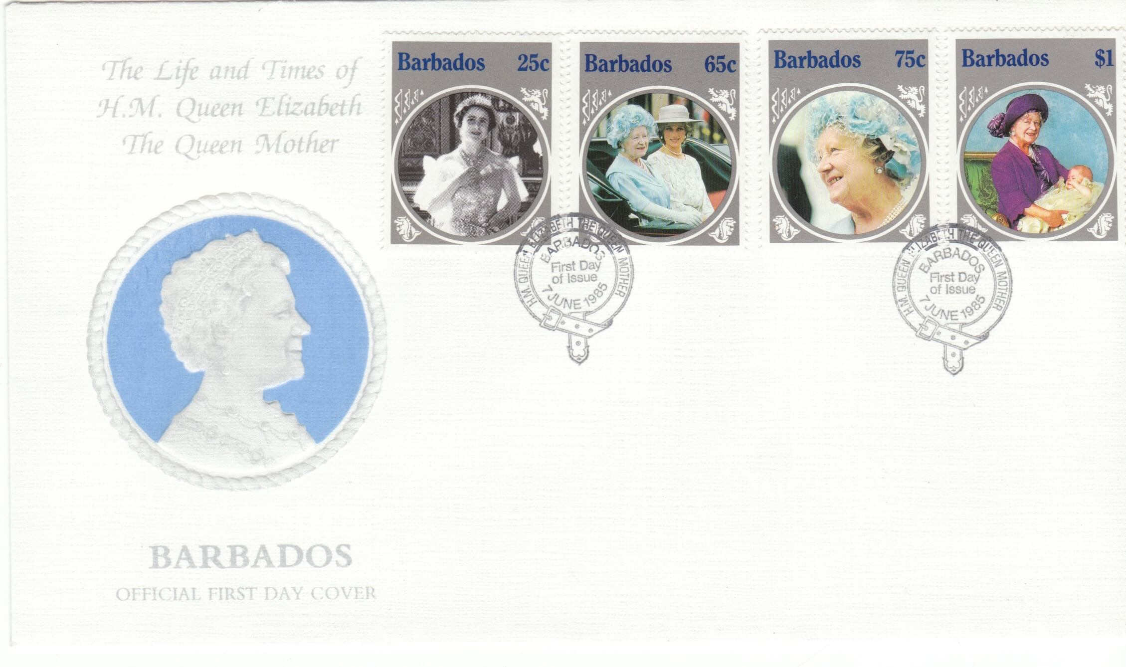 Barbados Queen Mother FDC