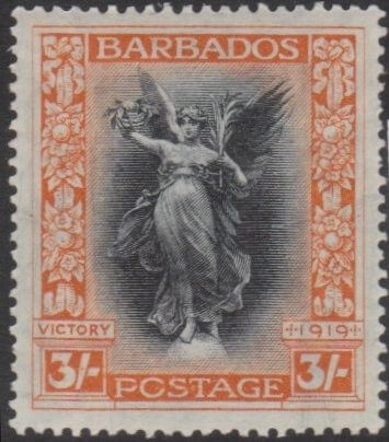 Barbados SG211 The 3/- stamp from the Victory series