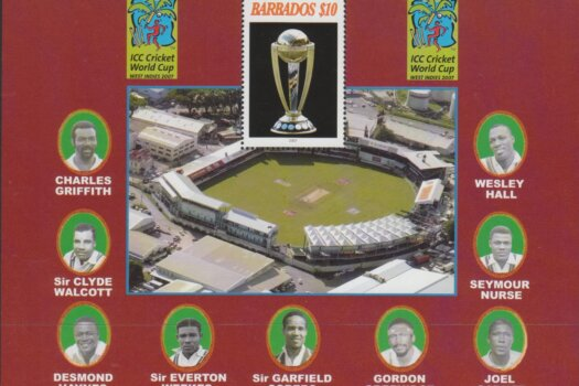 Barbados MSSG1309 - $10 ICC Cricket World Cup Mini Sheet 2007
