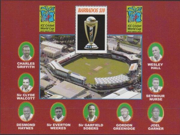 Barbados MSSG1309 - $10 ICC Cricket World Cup Mini Sheet 2007