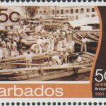 Barbados SG1397- 50th Anniversary of Bridgetown Port -65c Lightermen Delivering Cargo