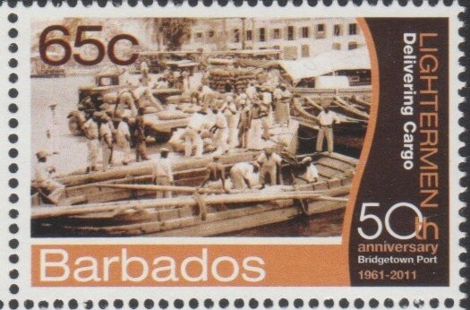 Barbados SG1397- 50th Anniversary of Bridgetown Port -65c Lightermen Delivering Cargo