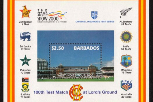 Barbados SGMS1170 - $2.50 West Indies Tour 2000 Mini Sheet