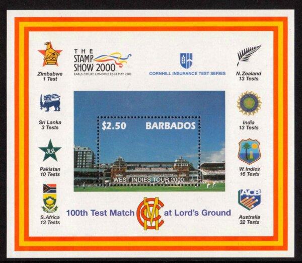 Barbados SGMS1170 - $2.50 West Indies Tour 2000 Mini Sheet