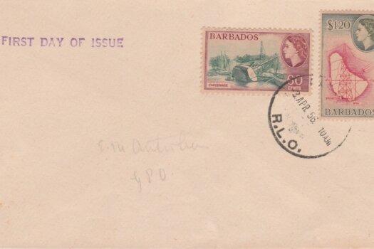Barbados QEII 1953 commemorative FDC - 60c & $1.20