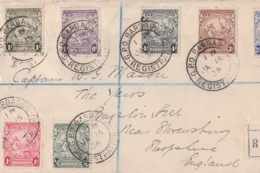 George VI Barbados definitives on a Registered Cover (not FDC) 15/01/38