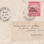 Overprinted George VI Barbados definitive on FDC