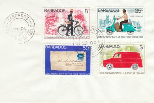 Barbados 1976 125th Anniversary of the Post Office Act FDC - plain cover