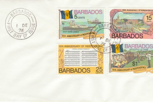 Barbados 1976 10th Anniversary of Independence FDC - plain cover