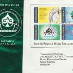 Barbados Seventh Regional Bridge Tournament mini sheet FDC 1978 - illustrated cover