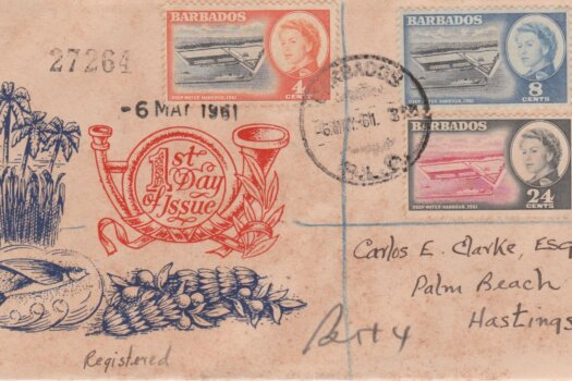 Barbados 1961 Deep Water Harbour FDC - illustrated cover