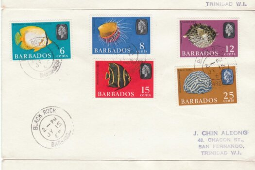 Barbados 1965 Marine Life Definitives FDC - set of 3 covers with Black Rock cancels