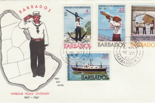 Barbados 1967 Harbour Police Centenary FDC - illustrated cover