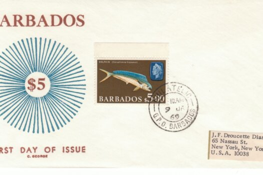 Barbados 1969 $5 Dolphin definitive FDC - illustrated cover