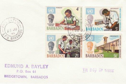 Barbados 1970 International Education Year FDC - plain cover