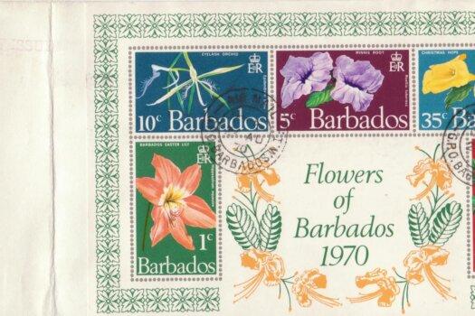 Barbados 1970 Flowers of Barbados mini sheet FDC - plain cover