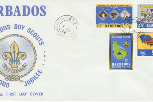 Barbados 1972 Boy Scout Diamond Jubilee FDC - illustrated cover