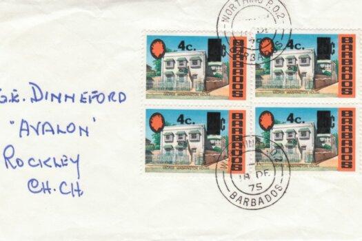 Barbados 1974 4c overprint FDC - plain cover