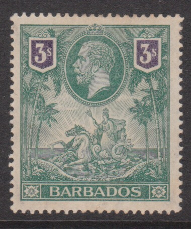Barbados SG180 George V 3/-