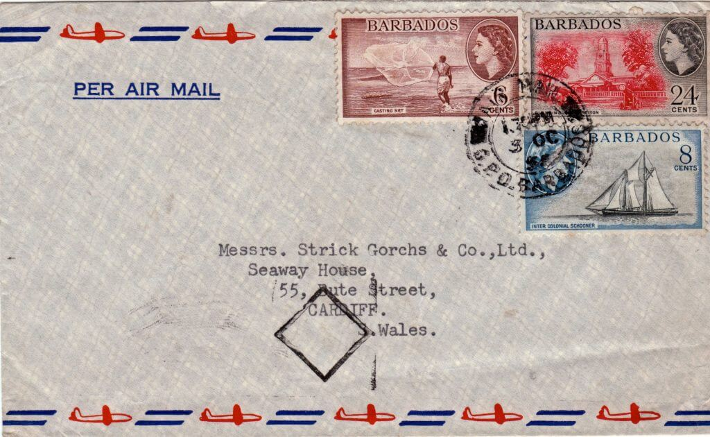 Barbados commercial air mail cover