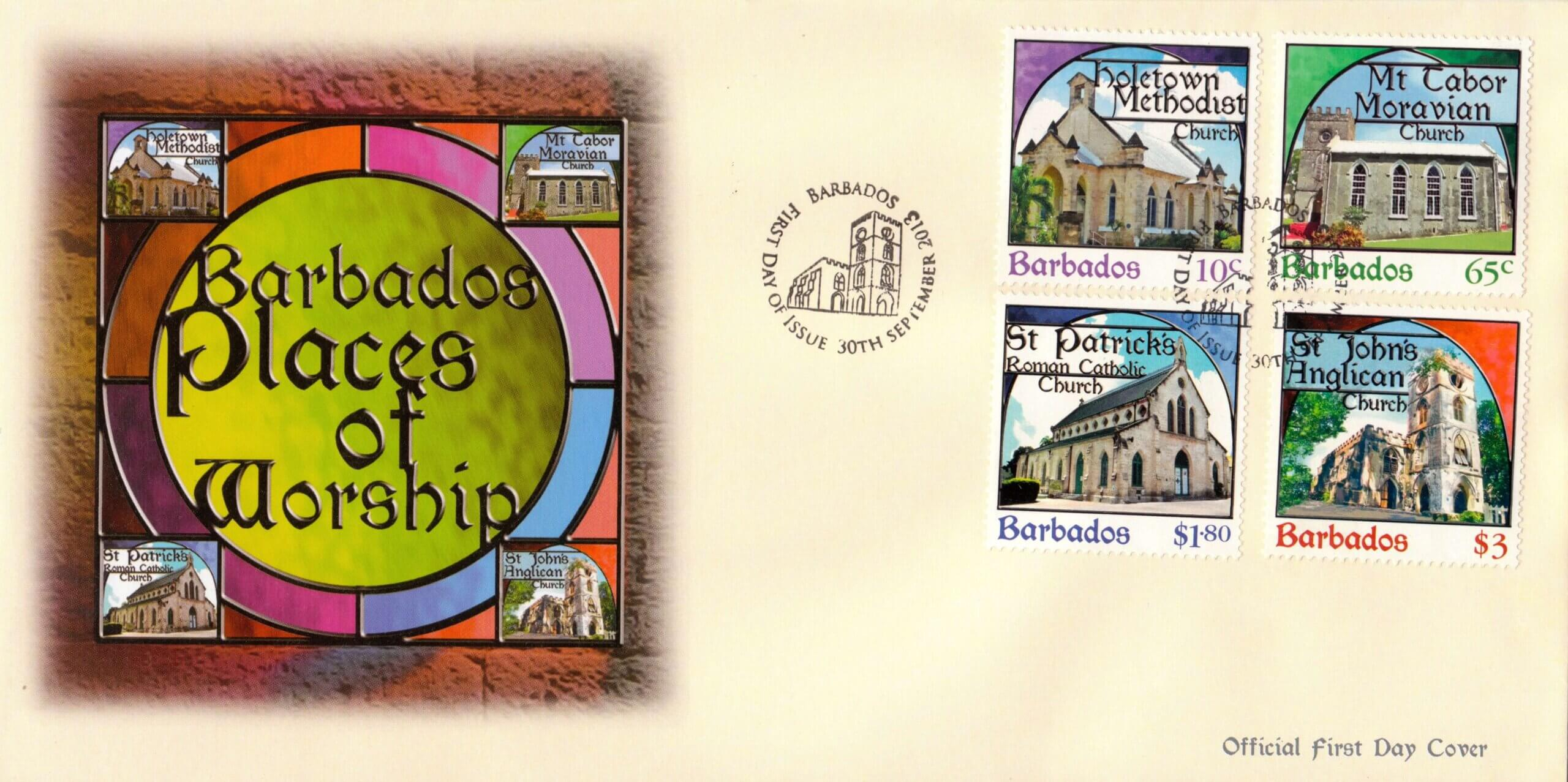 Places of Worship First Day Cover - Barbados Stamps