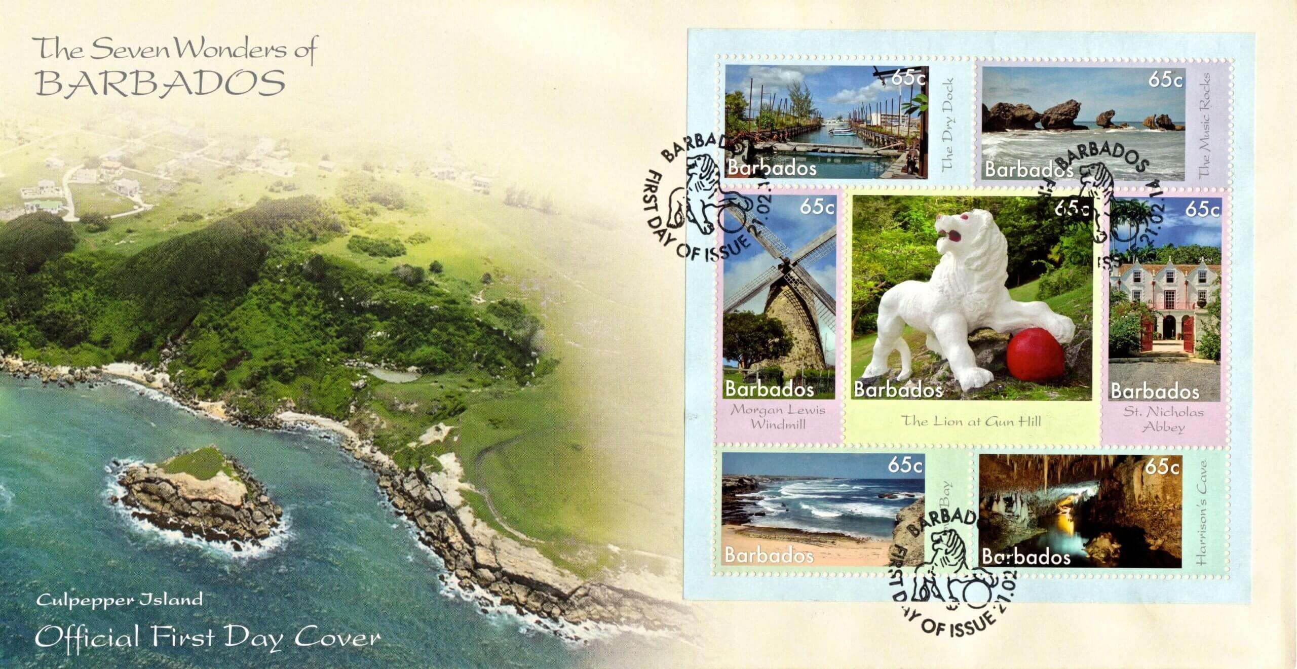 7 Wonders of Barbados Mini Sheet FDC