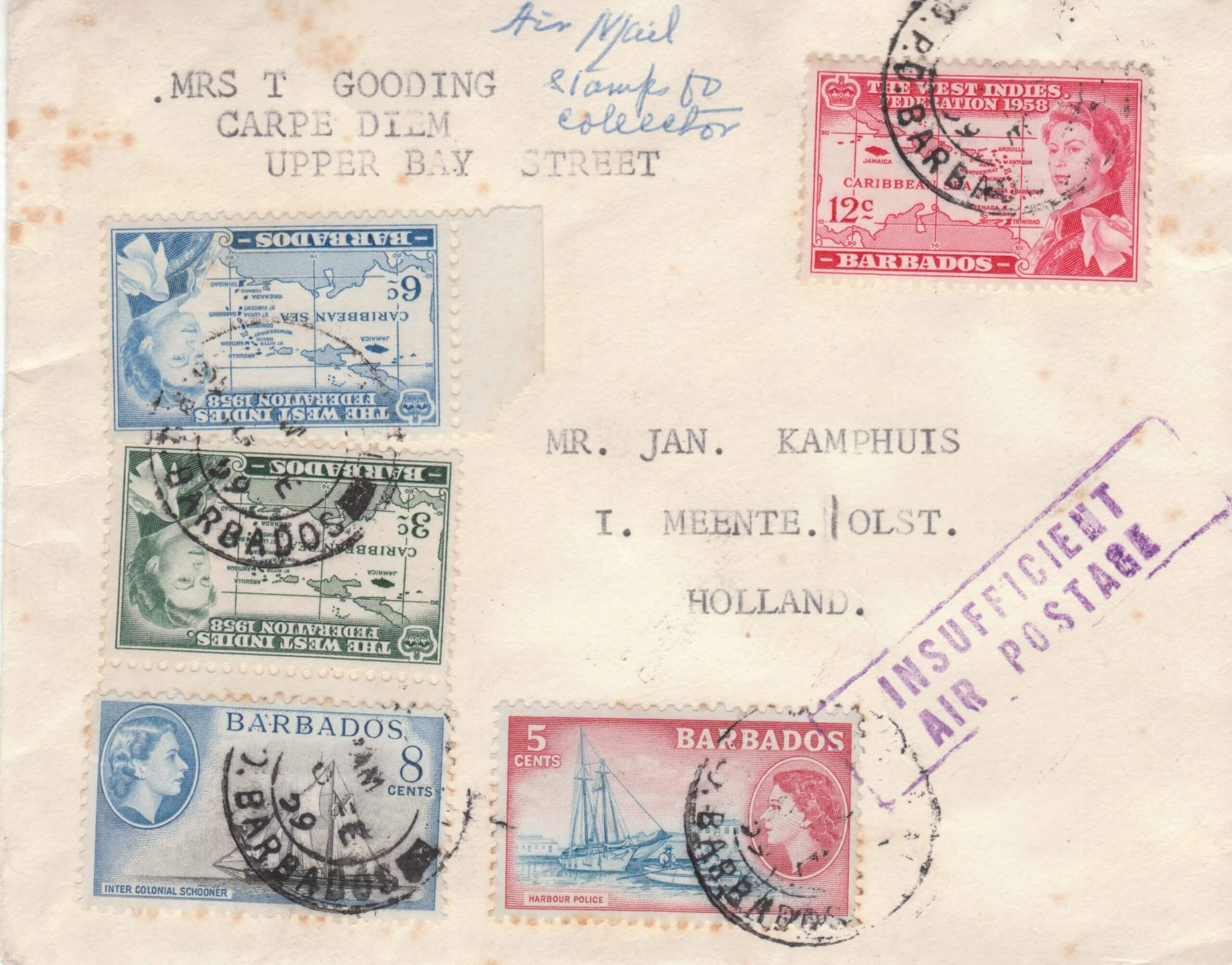 Barbados Insufficient Air Postage cover