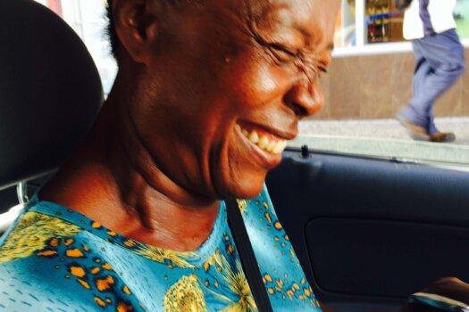 My helpful saviour Marjory in the car in Bridgetown