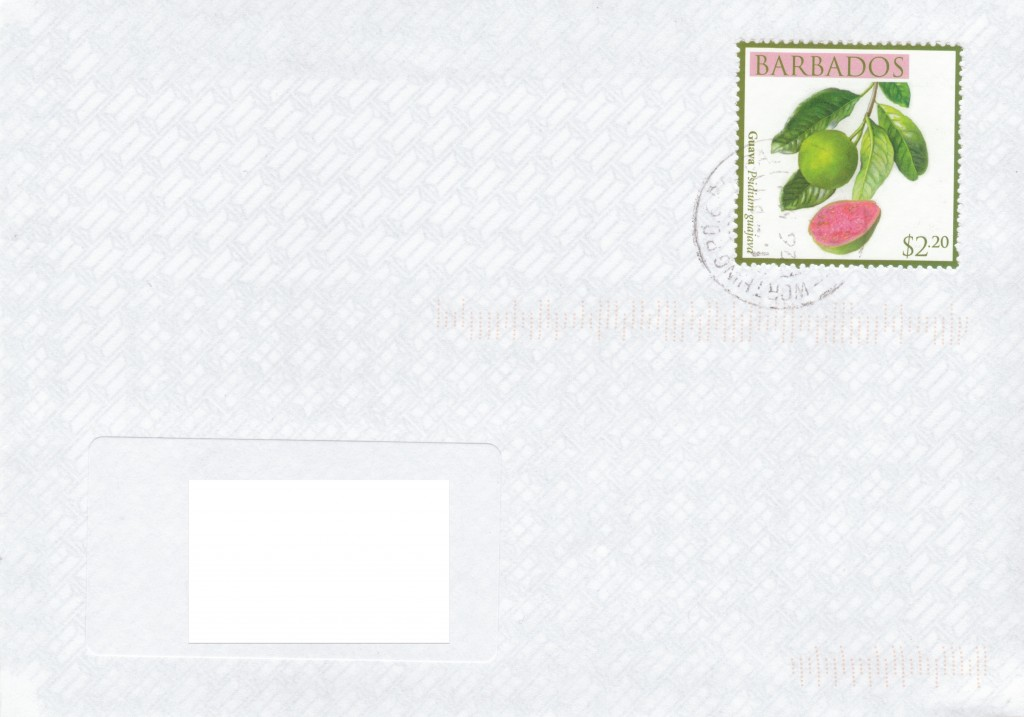 Cover from Worthing Post Office, Barbados