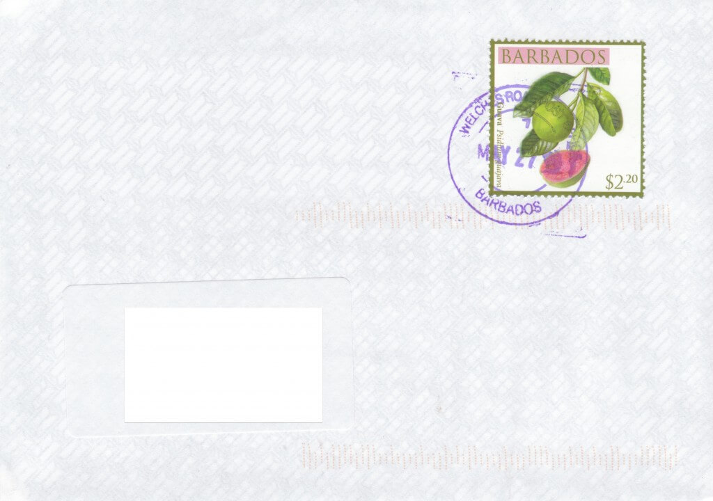 Cover from Welches Road Post Office, Welches Road, St Michael, Barbados