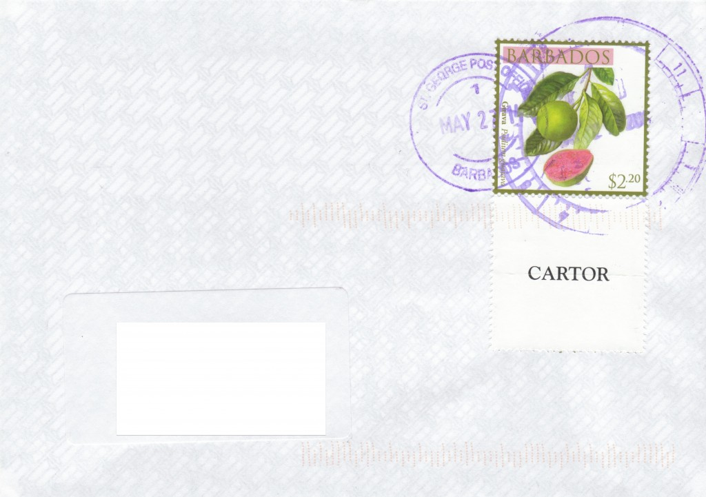 Cover from St George Post Office, Barbados