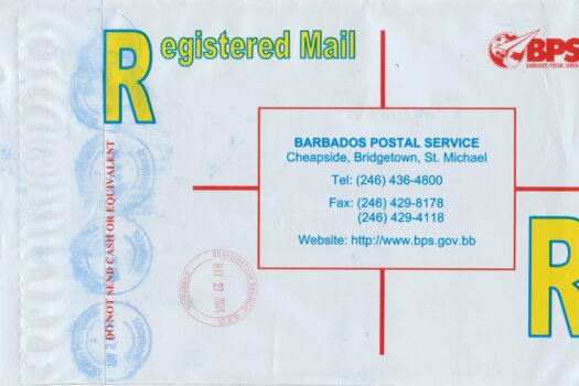 Registered Envelope from St Lucy Barbados