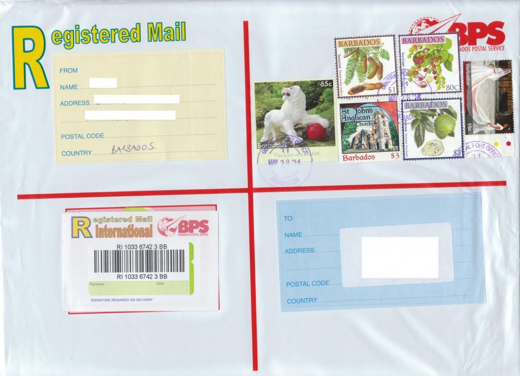 Registered Envelope from Bridgetown Barbados
