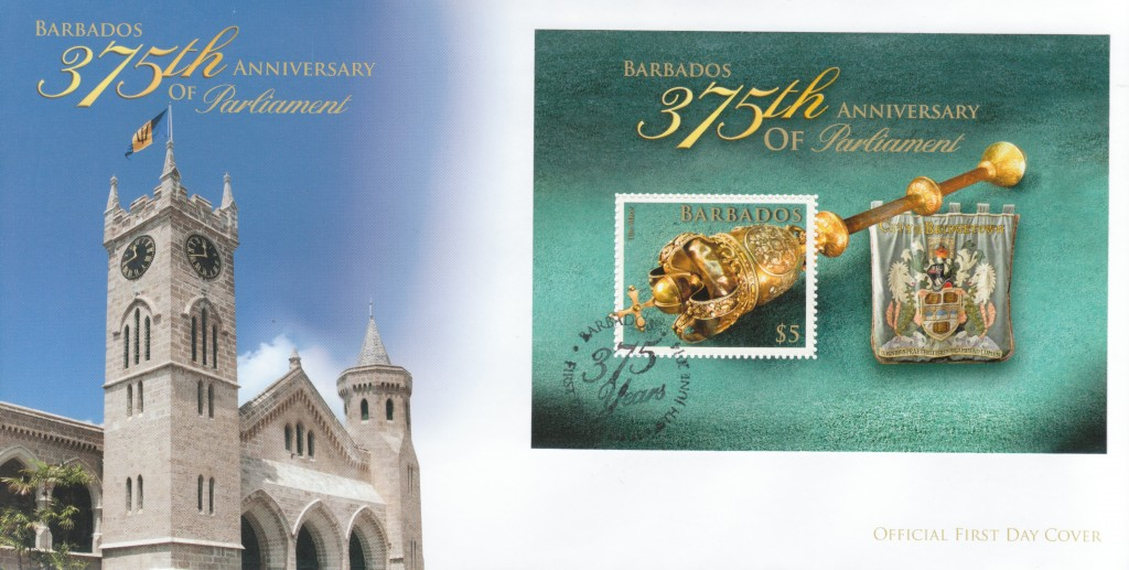 The 375th Anniversary of Parliament in Barbados Mini Sheet First Day Cover