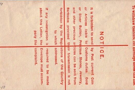 Barbados Registered Letter 1902