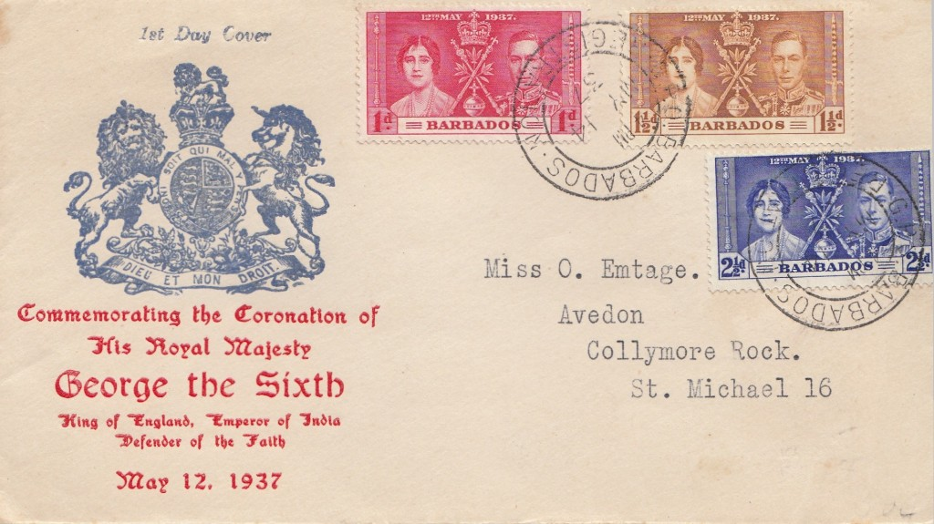 Barbados Coronation FDC 14th may 1937