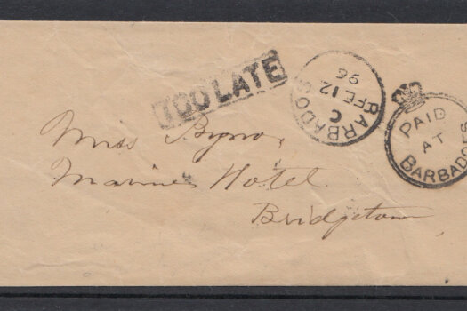 Rare Barbados Crowned Circle cancel from 1896 with additional 'Too Late' cancel on newspaper wrapper