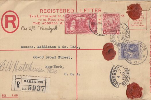 Barbados Registered letter March 1927