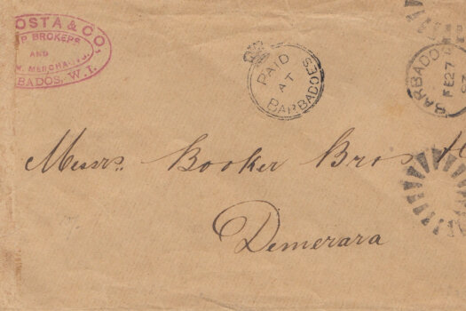 Barbados Crowned Circle handstamp on cover to Demerara British Guiana February 1893