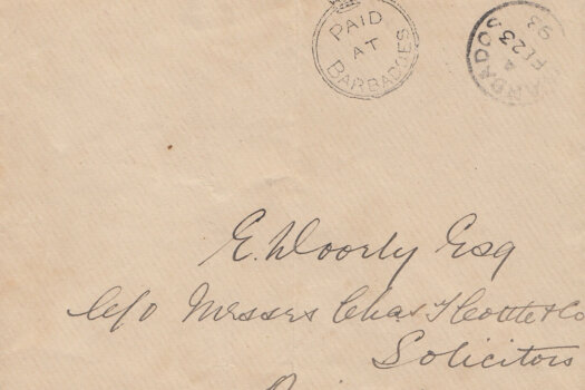 Barbados Crowned Circle handstamp on cover February 1893