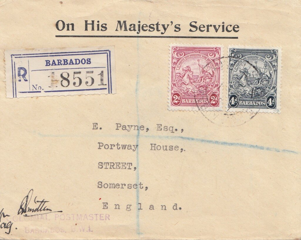 Barbados Registered Letter 1943