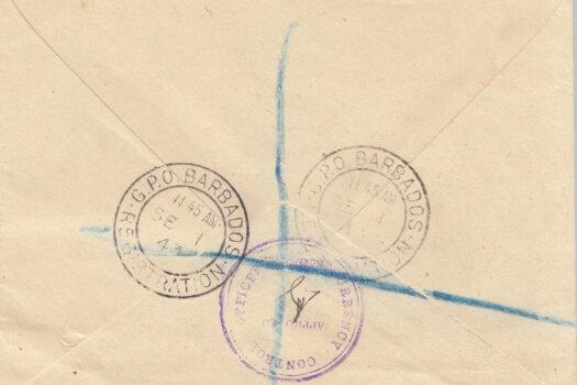 Barbados Registered Letter 1943