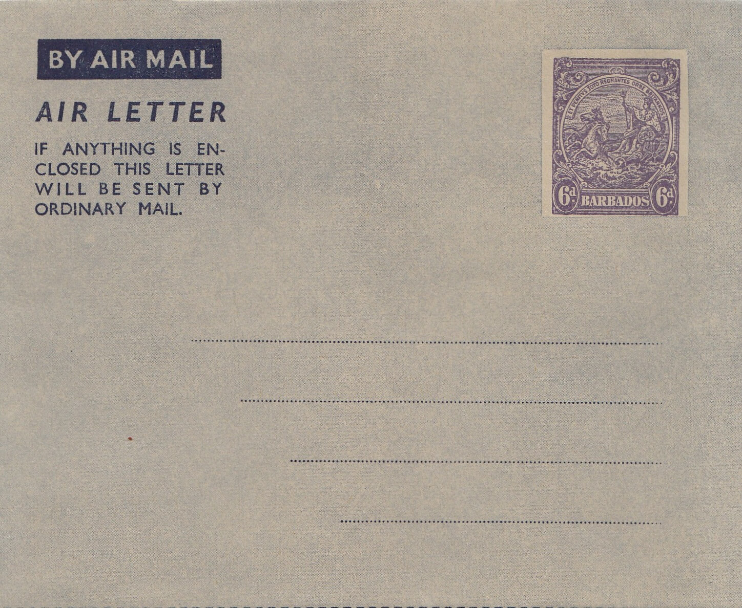 Barbados Air Letter form 1949