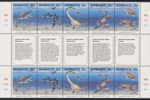 Barbados Prehistoric Aquatic Reptiles Stamps 1993