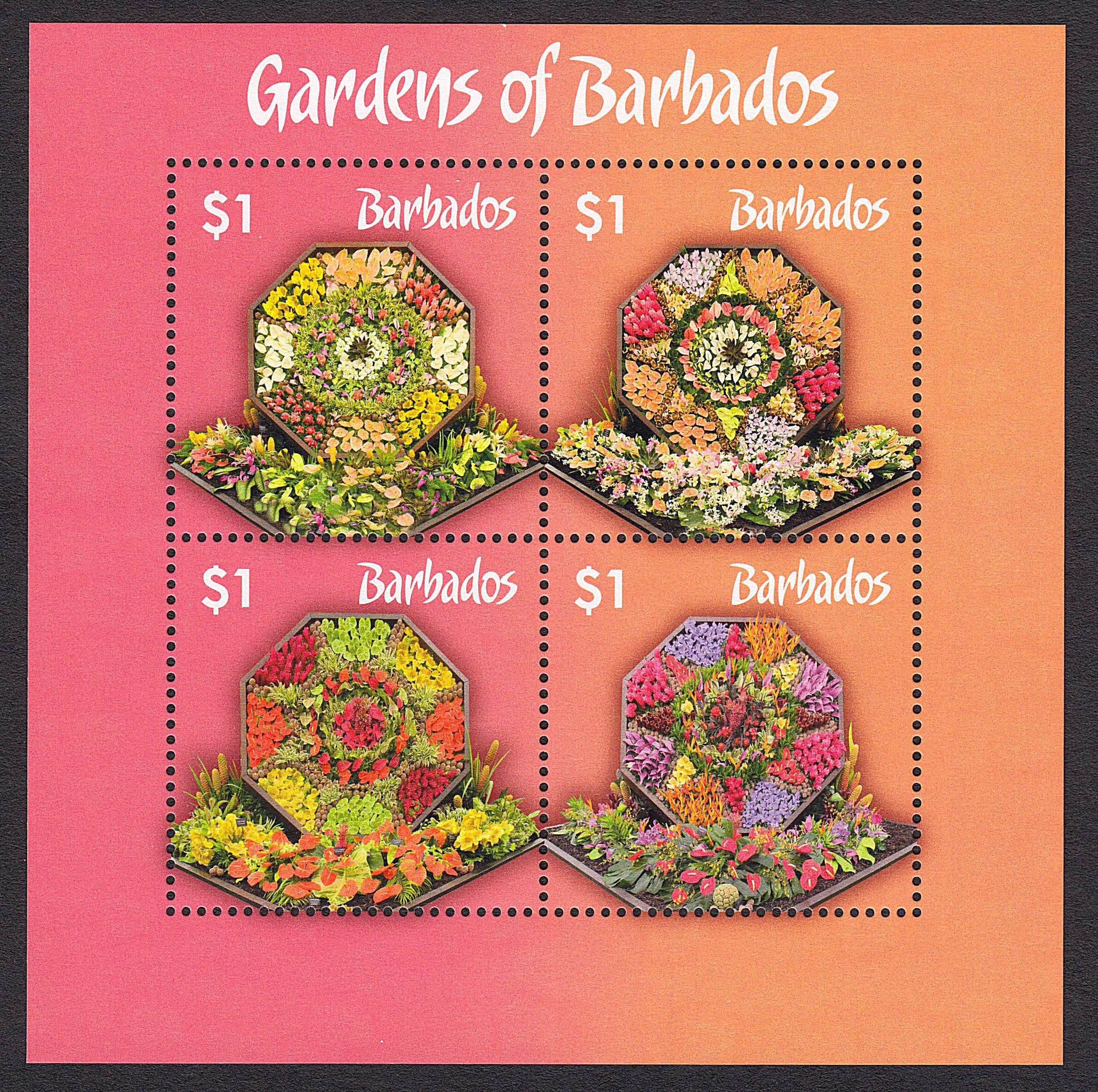 The Gardens of Barbados mini sheet