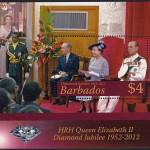 Queen Elizabeth II Diamond Jubilee - $4 minisheet -Barbados SGMS1387