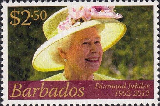 Queen Elizabeth II Diamond Jubilee - $2.50 - Barbados SG1386