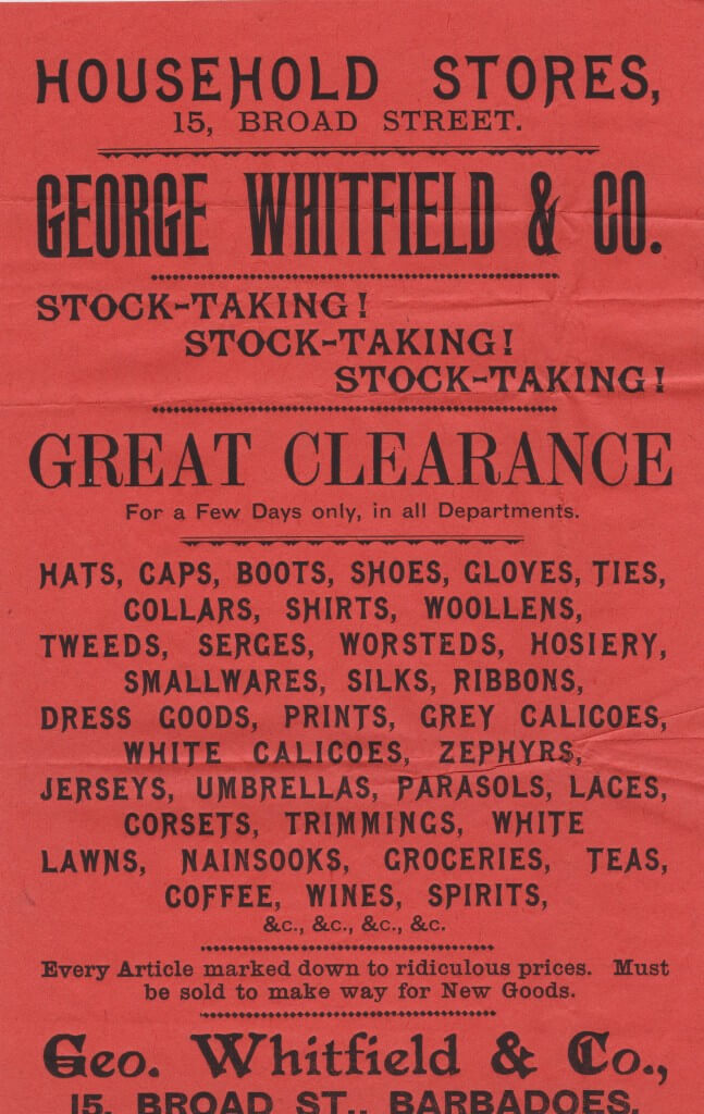 Barbados Stock Take sale flyer from 1893