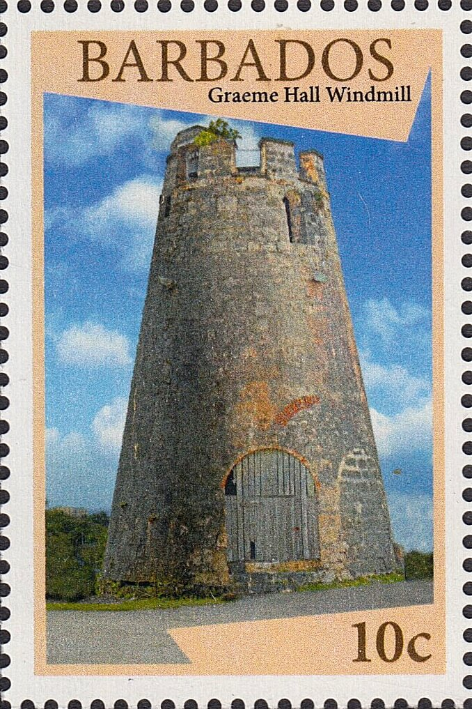 Barbados stamps - WIndmills of Barbados - 10c Graeme Hall Windmill