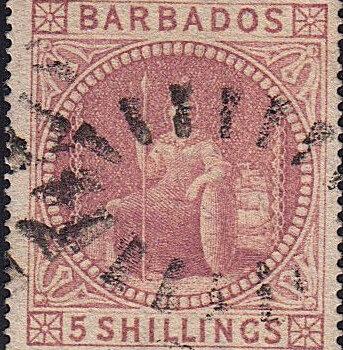 Barbados SG64 5/- Rose used